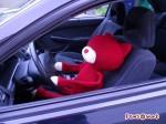 ねこの編みぐるみが車の運転席に座っている。両手はハンドルにかかっていてこの編みぐるみが運転しているように見える。