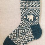 ゾウの編み込み靴下:左足