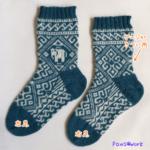 ゾウ模様の編み込み靴下:完成
