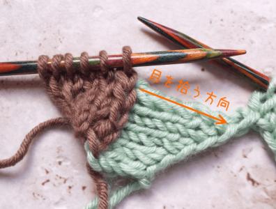 バスケット編み:右に進むブロック