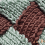 バスケット編みの編地つなぎ目が綺麗。